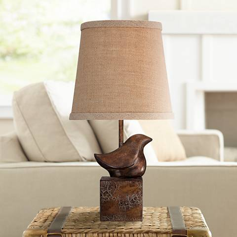 "Bird Moderne Crackle Finish 15 1/2"" High Small Accent Lamp"