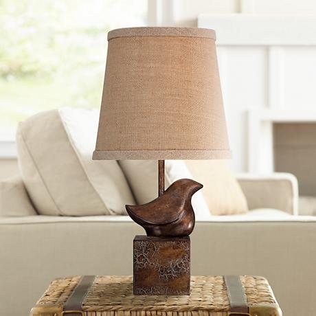 Bird Moderne Crackle Finish Small Accent Lamp