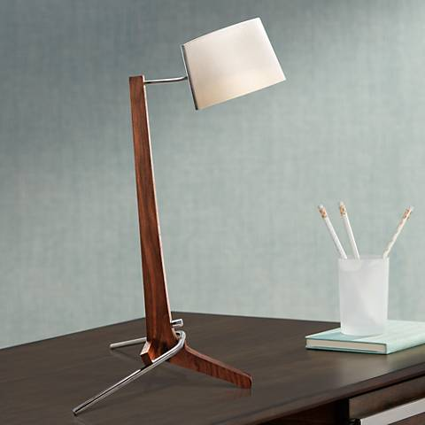 Cerno Silva Oiled Walnut and White LED Table Lamp