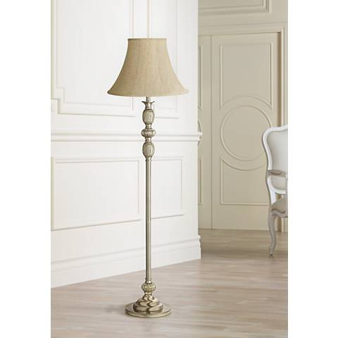 Ivory Linen Satin Brass Mercury Glass Floor Lamp