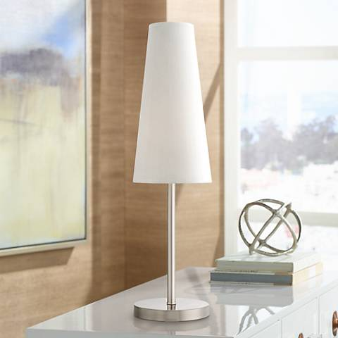 Snippet Brushed Steel Accent Table Lamp