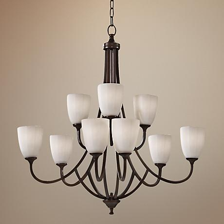 "Feiss Perry 32 1/2""W Heritage Bronze 9-Light Chandelier"
