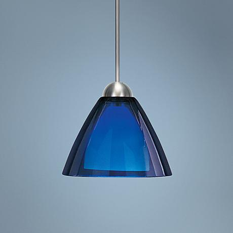 "LBL Dome S-I Grande 8 3/4"" Wide Nickel Blue Glass Pendant"
