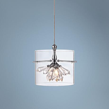 Possini Euro Design Crystal Lotus Chrome Mini Pendant Light