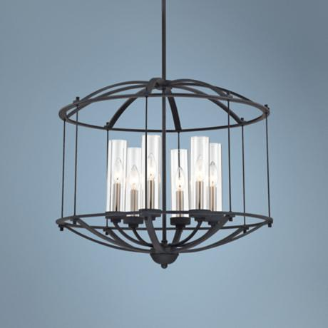 "Quoizel Troy 24"" Wide 6-Light Ebony Pendant Light"