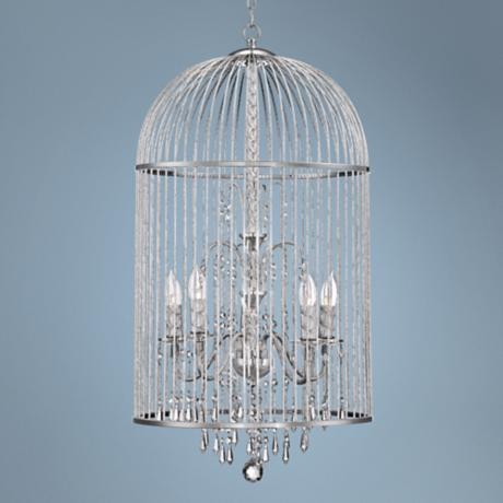 "Bird Cage 17 1/2"" Wide 5-Light Crystal Chandelier"