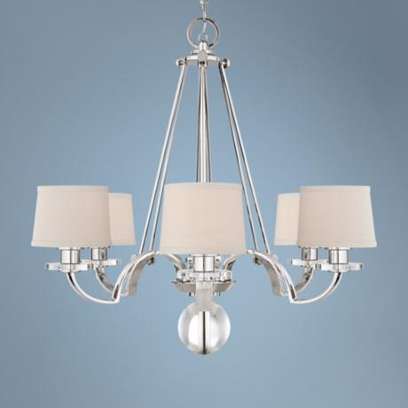 "Quoizel Uptown Sutton Place Silver 31""W 6-Light Chandelier"