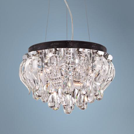 "Gotham 18"" Wide Chrome and Crystal Pendant Light"