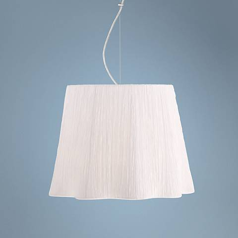 "Possini Euro Adi Chrome 16"" Wide Ivory White Pendant Light"