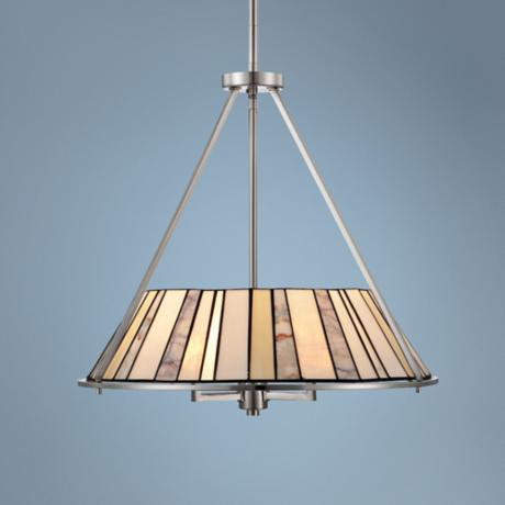"Quoizel Merritt 3-Light 22"" Wide Nickel Pendant Light"