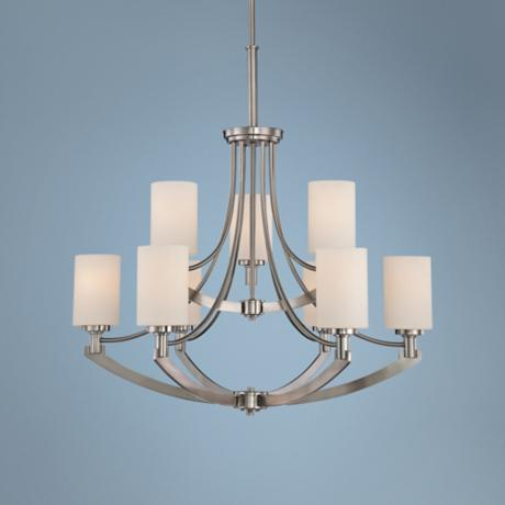 "Quoizel Imogen 9-Light Nickel 29 1/2"" Wide Chandelier"