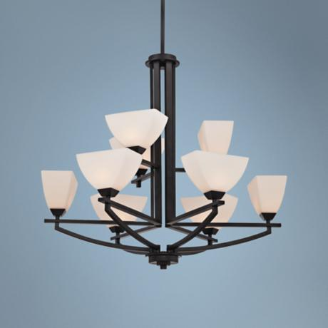 "Quoizel Ebony 29 1/2"" Wide Black 9-Light Chandelier"