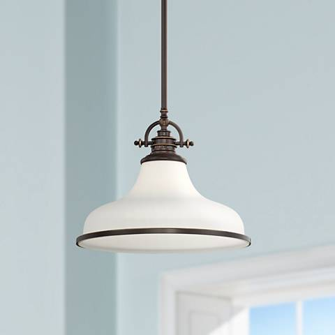 "Quoizel Grant 13 1/2"" Wide Bronze Pendant Light"