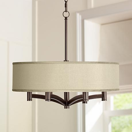 Sesame Faux Silk Ava 6-Light Bronze Pendant Chandelier