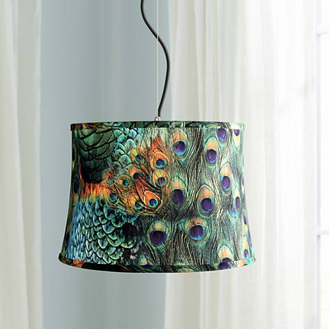 "Peacock Print Shade 16"" Wide Pendant Light"