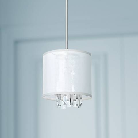"Piccadilly Brushed Nickel and White 9""W Mini Pendant Light"