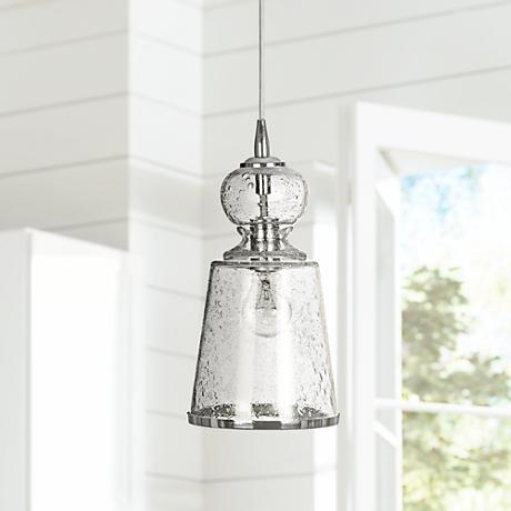 "Jamie Young Laffite 7""W Clear Seeded Glass Pendant Light"