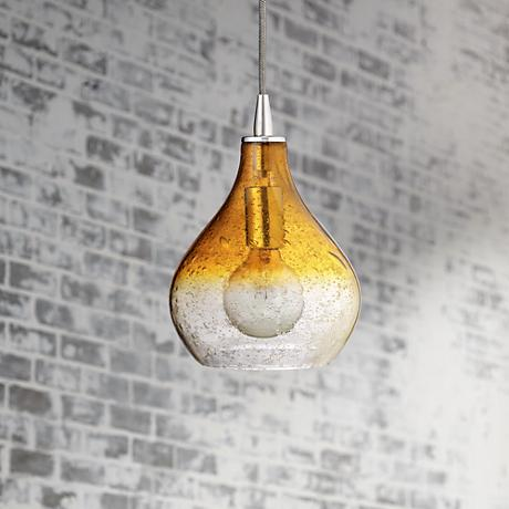 "Jamie Young 7"" Wide Gradient Amber Curved Pendant Light"
