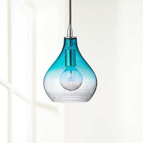 "Jamie Young Gradient Aqua Glass 7"" Wide Mini Pendant"