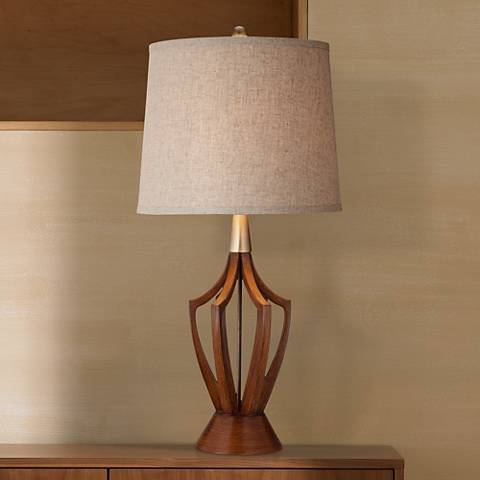 claire wood finish mid century modern table lamp y0104 lamps plus