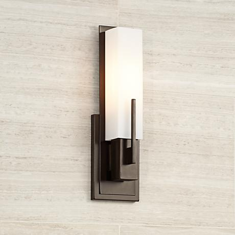 Possini Euro Midtown 15 Quot High White Glass Bronze Wall