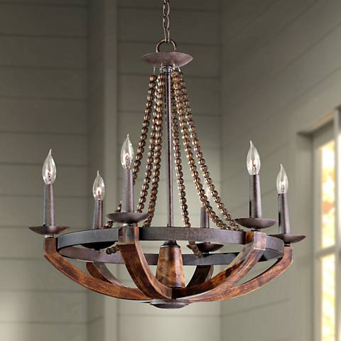 "Feiss Adan 26 1/2""W Rustic Iron Beaded 6-Light Chandelier"