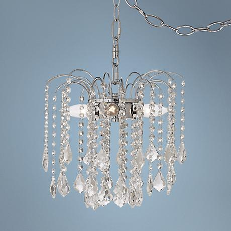 "Nicolli Clear Crystal 12"" 4-Light Plug-In Swag Chandelier"