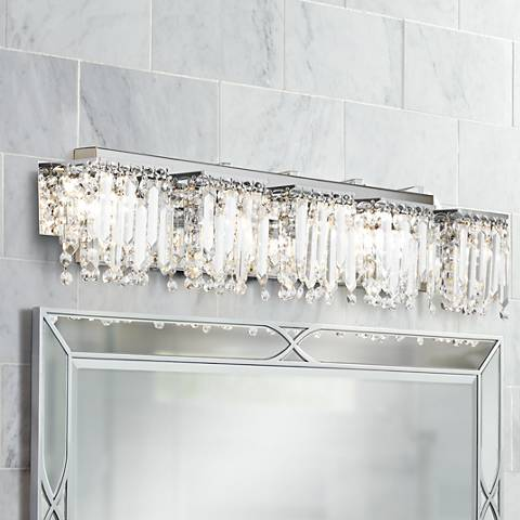 "Possini Euro Design Hanging Crystal 42 1/2"" Wide Bath Light"