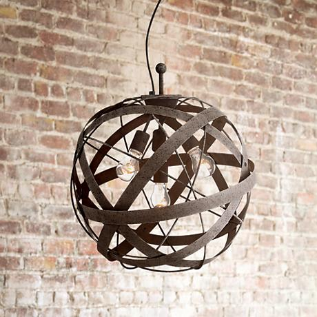 "Orbital Weave 19 1/2"" Wide Rust Metal Pendant Light"