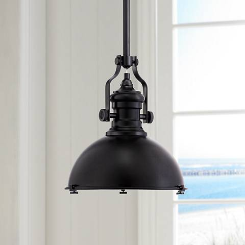 "Possini Euro Enzo 12 1/2"" Wide Black Mini Pendant"
