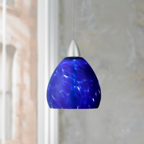 Possini Euro Meriden Blue Art Glass LED Mini Pendant Light