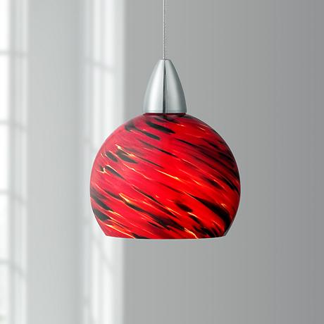 Possini Euro Arata Red Art Glass LED Mini Pendant Light