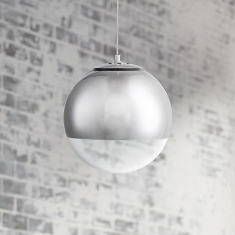 "Possini Euro Design Zuri 10"" Wide Chrome Glass Mini Pendant"