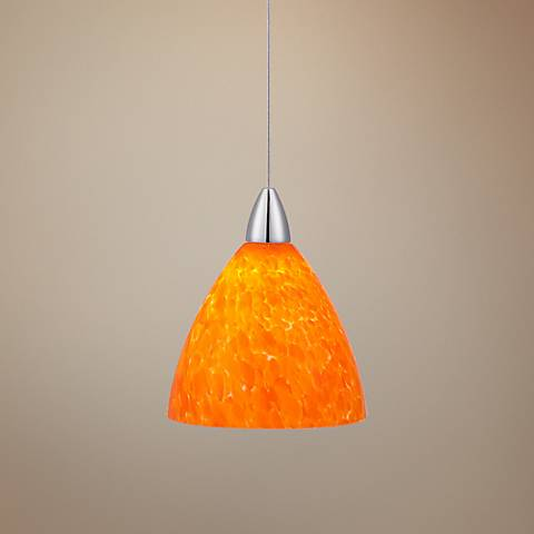 Possini Euro Fiano Amber Art Glass LED Mini Pendant Light