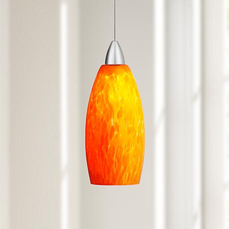 Possini Euro Strada Amber Art Glass LED Mini Pendant Light
