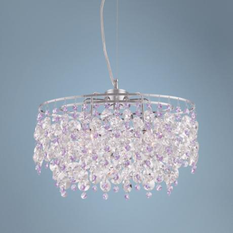 "Abigail 15"" Wide Purple Crystal Pendant Chandelier"