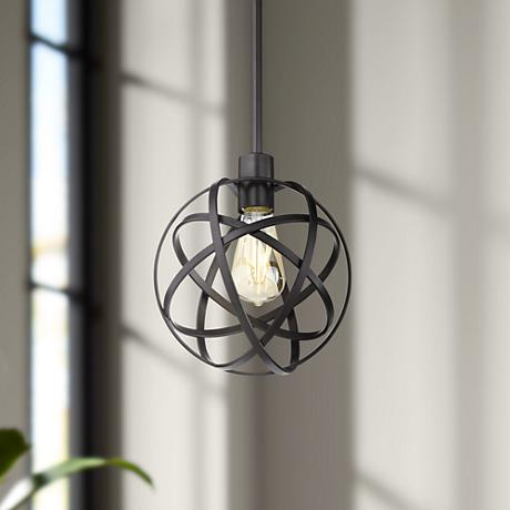 "Industrial Atom 8"" Wide Edison Bronze Mini Pendant Light"