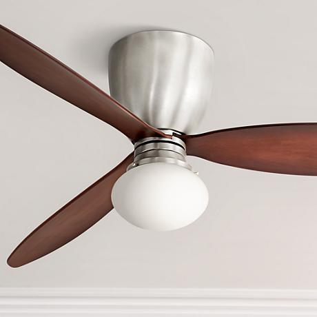 "52"" Casa Orbitor Opal Glass Espresso Hugger Ceiling Fan"