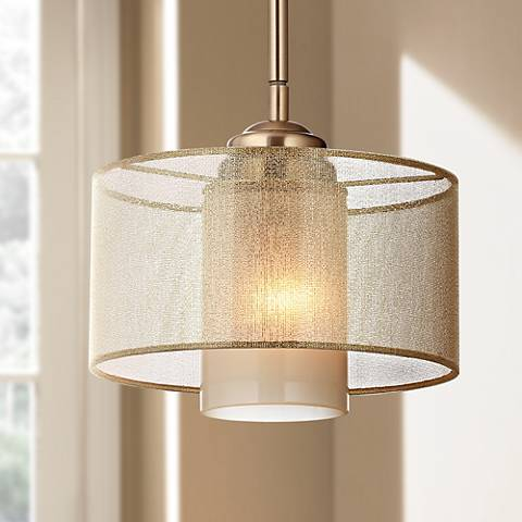 "Possini Euro Design Alecia 8"" Wide French Gold Mini Pendant"