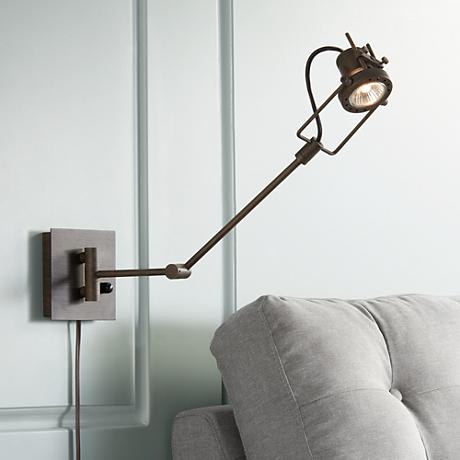 Wall Sconces Swing Arm Plug In : Wilde Spotlight Plug-in Swing Arm Wall Lamp - #Y4064 Lamps Plus
