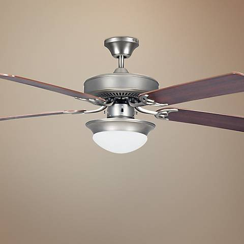 "52"" Heritage Fusion Nickel Ceiling Fan with Light"