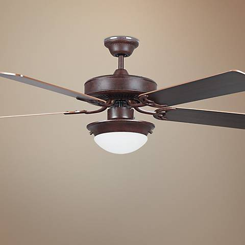 "52"" Heritage Rubbed Bronze Ceiling Fan with Light"
