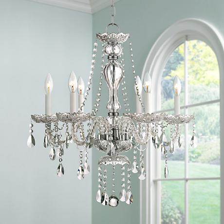 "Vespar Chrome 23 1/4"" Wide 6-Light Crystal Chandelier"
