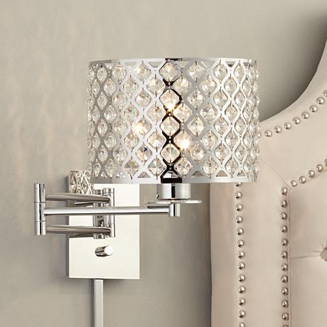 "Possini Euro Glitz 9"" Wide Plug-In Swing Arm Wall Lamp"