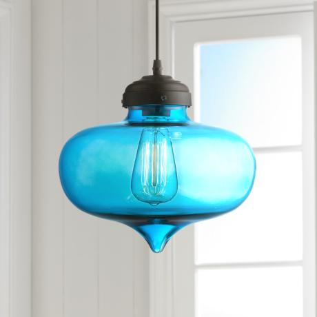 "Possini Euro Darby 10 1/2"" Wide Blue Glass Pendant Light"