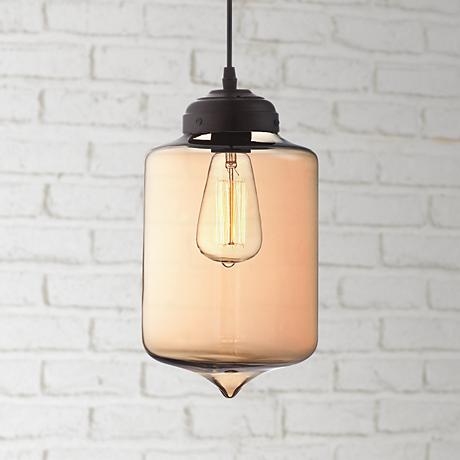 "Possini Euro Design Calico 7"" Wide Amber Glass Pendant Light"