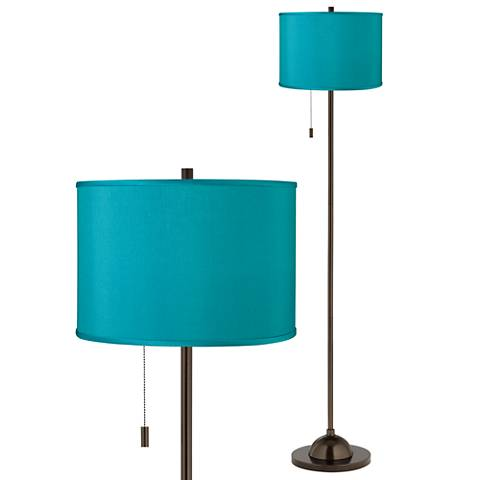 Teal Blue Faux Silk Bronze Club Floor Lamp