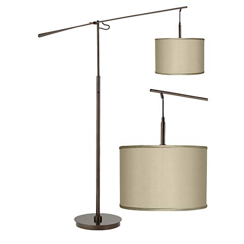 Sesame Faux Silk  Bronze Balance Arm Floor Lamp