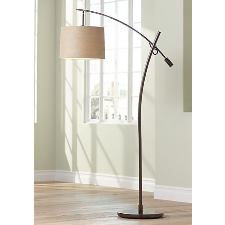 Tara Tan Weave Shade Balance Arm Arc Floor Lamp