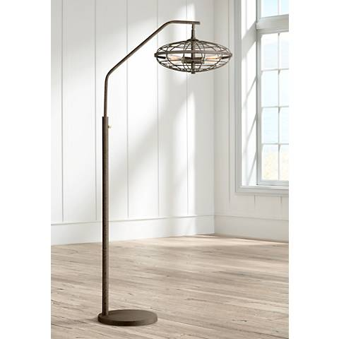 Industrial Cage 3-Light Arc Rust Floor Lamp